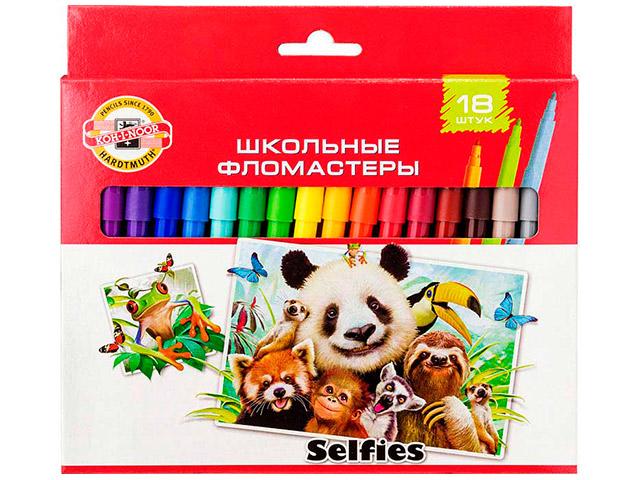 """Фломастеры KOH-I-NOOR """"Selfies"""" 18 цветов, картон. упак, европодвес"""