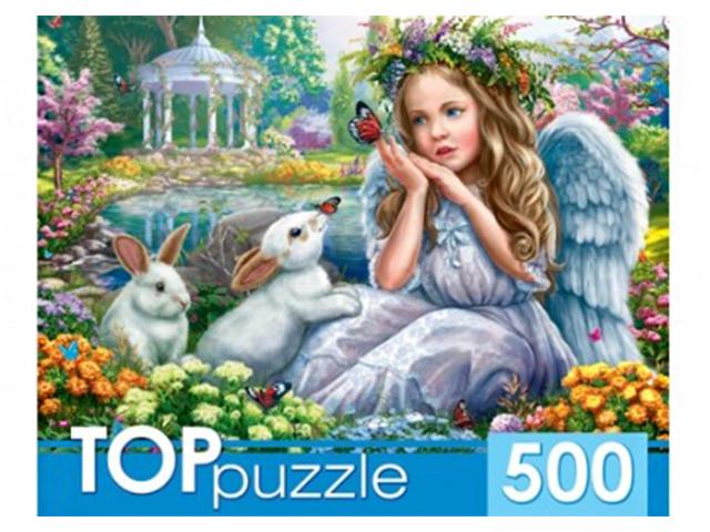 """Пазлы 500 элементов 485х345 Рыжий кот """"Toppuzzle. Ангелочек и кролики"""""""