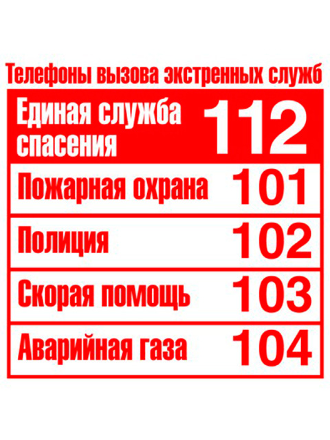 """Наклейка """"Телефоны экстренной помощи"""" 95х95 мм"""
