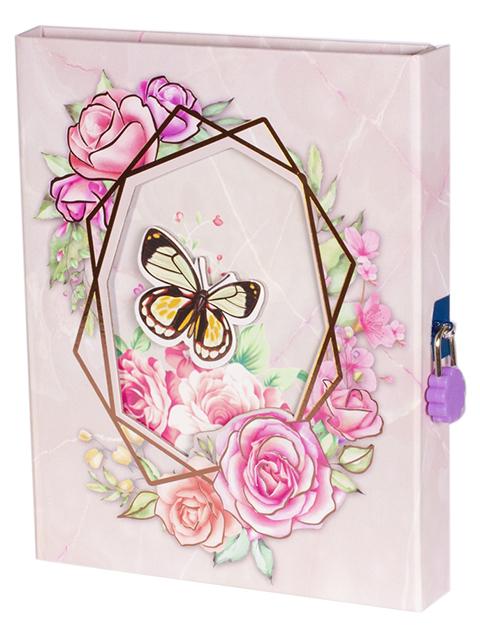 """Блокнот подарочный А5 Alingar """"Бабочка в цветах"""" 60 листов, в футляре, бежевый"""