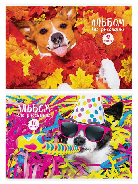 """Альбом для рисования А4 12 листов ArtSpace """"Питомцы. Funny dogs"""", на скрепке, обложка-офсет"""