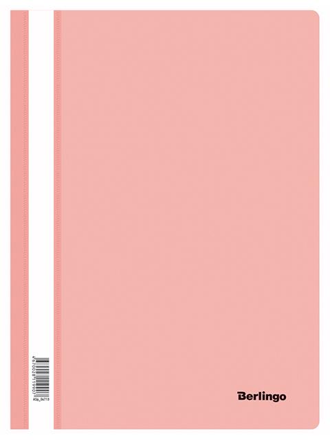 Папка А4 со скоросшивателем Berlingo с прозрачным верхом, фламинго