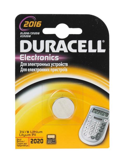 Батарейка литиевая (таблетка) Duracell CR2016 (1шт) блистер, кор. (10 уп)