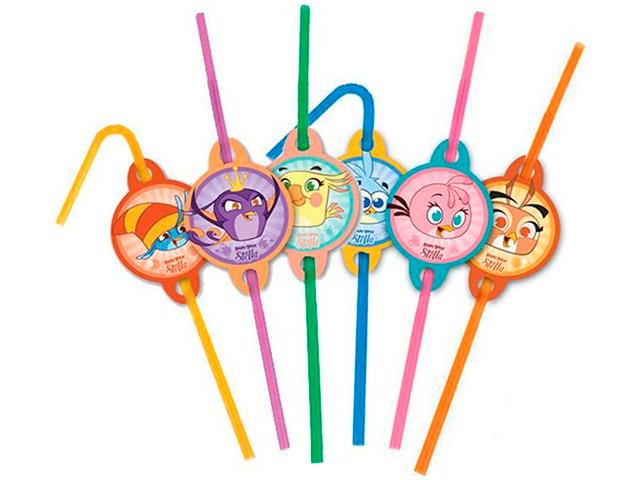 """Трубочки для коктейля Пати бум """"Angry Birds Stella"""" 6шт."""