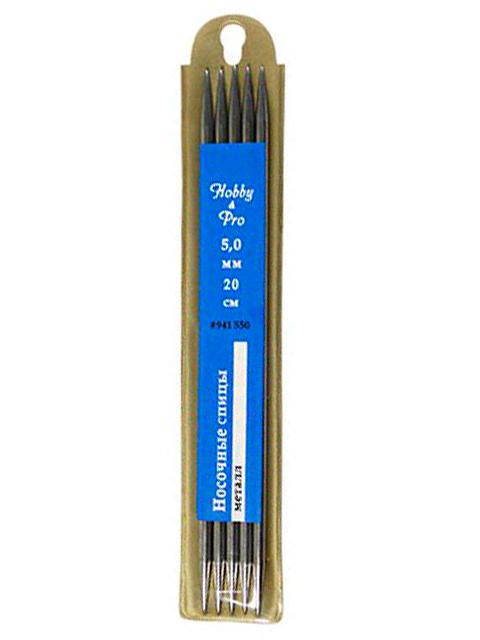 """Спицы """"Hobby & Pro"""" носочные, d-5,0 мм, 20 см, металл (в упак 5 шт)"""