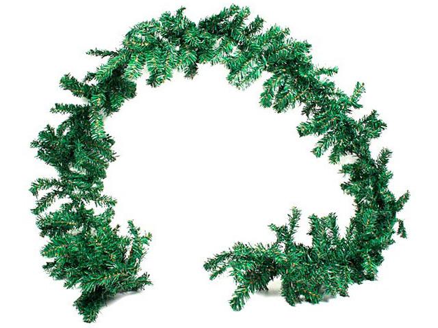 """Новогоднее украшение """"Гирлянда хвойная"""" 2,7 м, 180 веток, зеленая, ПВХ (без декора)"""