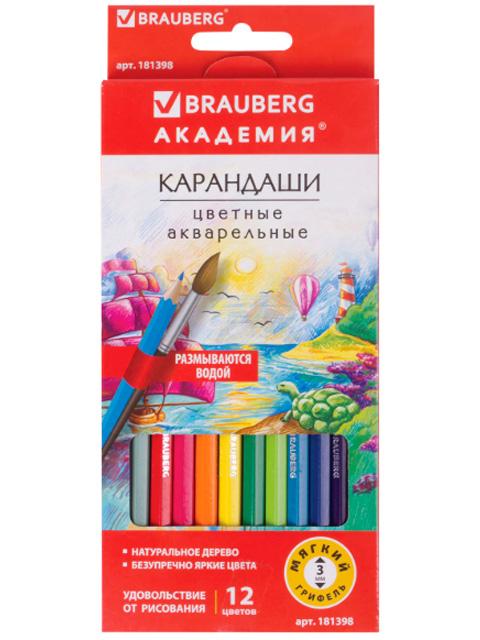 """Карандаши цветные акварельные BRAUBERG """"Академия"""", 12 цветов, деревянные, шестигранные, заточенные, картонная упаковка"""