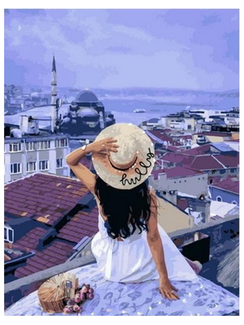 "Картина по номерам Raduga ""Девушка на крыше"" 40*50см"