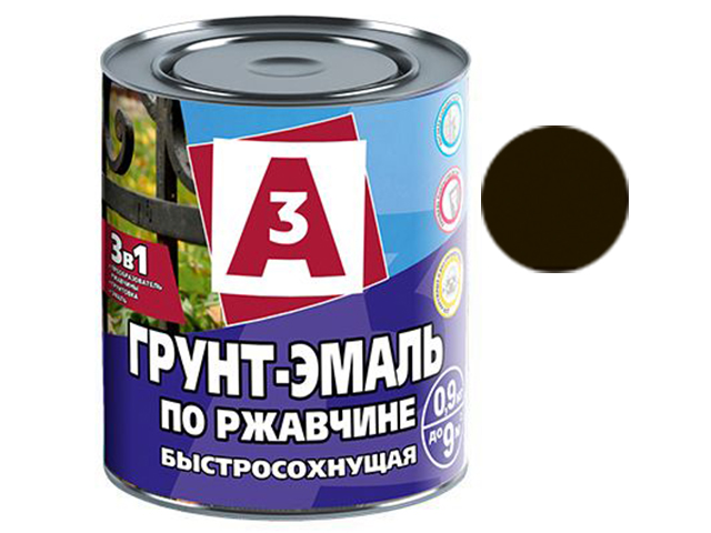 """Грунт-эмаль по ржавчине 3в1 """"А3"""" 0,9кг, черная"""