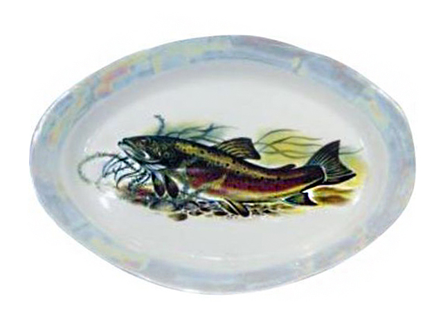 """Блюдо овальное ДФЗ """"Идиллия. Рыбы"""" 330мм, фарфор"""