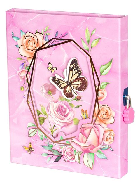 """Блокнот подарочный А5 Alingar """"Бабочка в цветах"""" 60 листов, в футляре, розовый"""