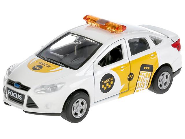 """Игрушка """"Технопарк. Машина Ford Focus Такси"""" металл, инерционная, открывающиеся двери, багажник, в коробке"""