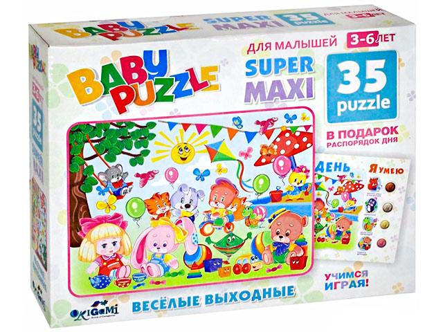 """Пазлы 35 элементов макси Оригами """"Baby Puzzle: Веселые выходные"""" с плакатом"""