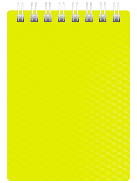 """Блокнот А7 80л. клетка Хатбер """"Diamond Neon"""" пластик обл., желтый, на гребне"""