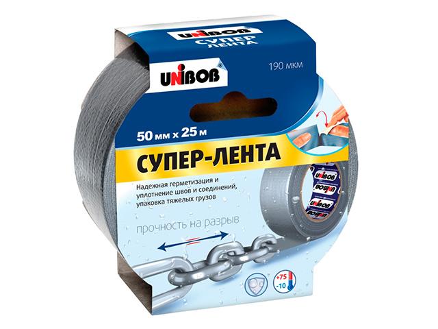 "Клейкая лента армированная UNIBOB ""Супер-лента"" 50 мм х 25 м, серебряная"
