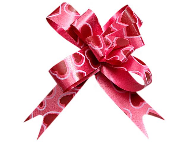 """Бант оформительский """"Бабочка №1,8"""" голография с рисунком сердца, бордовый 10шт. в упак."""