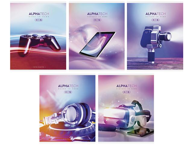 """Тетрадь А5 48 листов линия ArTSpace """"Увлечения. Neon. Alphatech"""" на скрепке"""