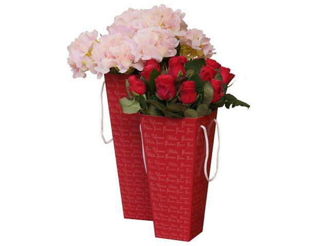 Коробка для цветов Яркий Мир, 90х150х325 мм, красная