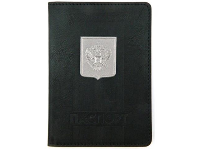 """Обложка для паспорта Intelligent """"Паспорт"""" черный, с металлическим гербом"""