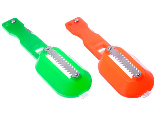 Рыбочистка с контейнером и ножом для вспарывания, пластик
