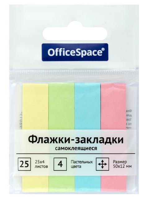 Флажки с клеевым краем OfficeSpace 50*12мм, 4 пастельных цвета по 25 листов