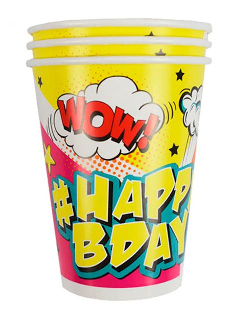 "Стакан бумажный Пати бум ""Happy Birthday. Комиксы"" 200 мл, 6 шт. в упак."