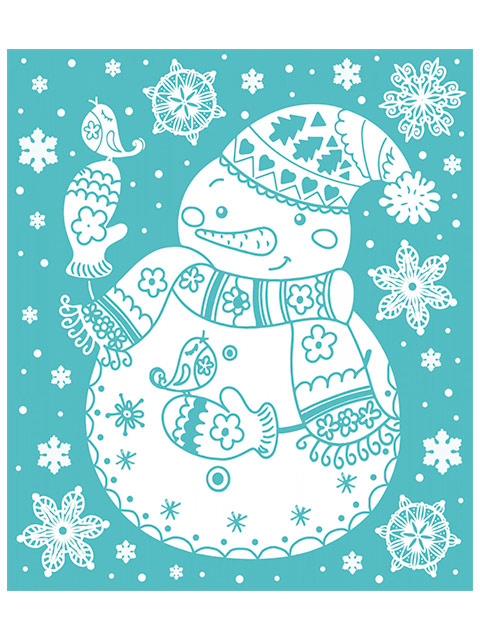 """Новогоднее украшение """"Снеговик"""" 15х17 см, оконное, с раскраской, ПВХ пленка"""