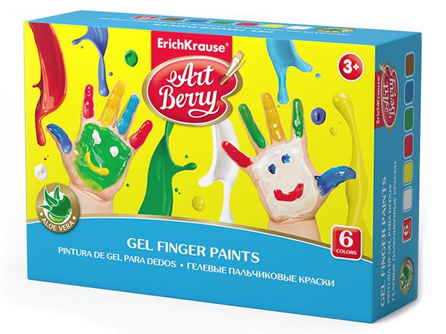 """Краски пальчиковые ErichKrause """"ArtBerry"""" 6 цветов, с Алоэ Вера, 35мл"""