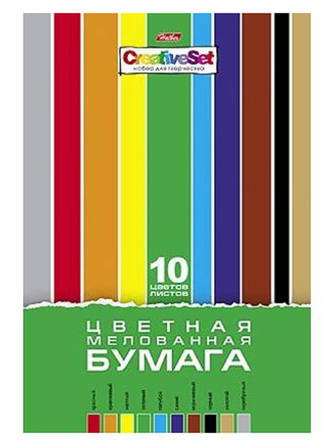"""Бумага цветная А4 10 цветов 10 листов Хатбер """"Creative Set"""" мелованная"""