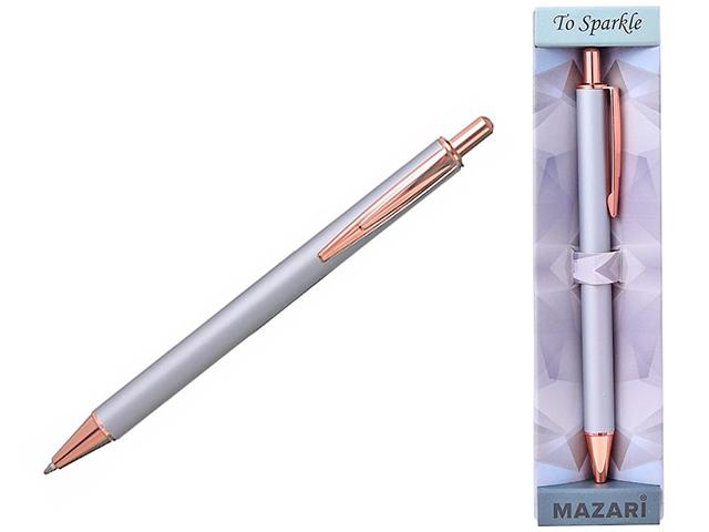 """Ручка шариковая автоматическая Mazari """"Sparkle"""", 0,7 мм, серебро/бронза, синяя, в подарочной упаковке"""