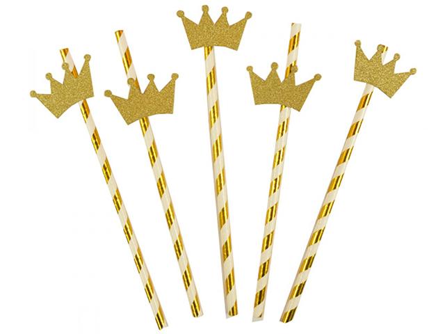 """Трубочки для коктейля Пати бум """"Золотая спираль с короной"""" 12шт, бумажные"""