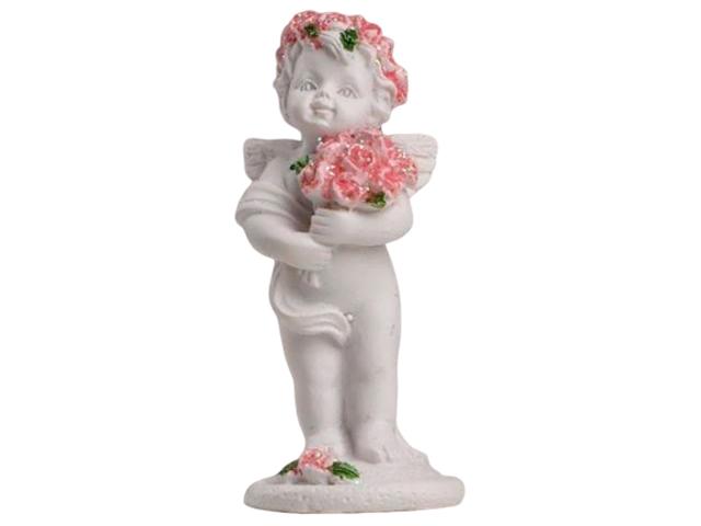 """Сувенир """"Белоснежный ангелочек в розовом веночке с розами"""" 6,5х2,5х2,8 см, полистоун"""