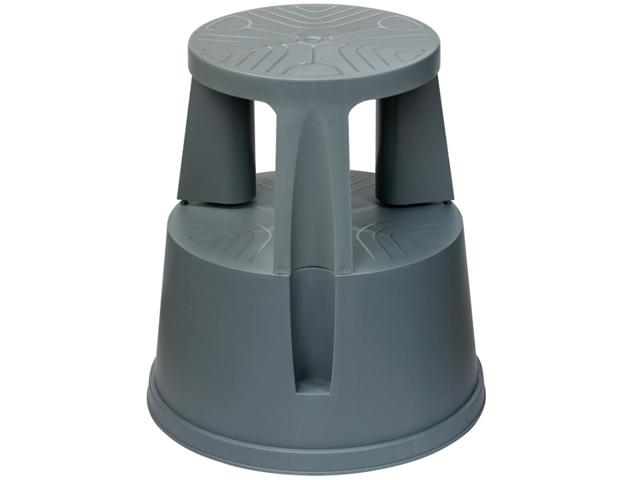 Лестница-тумба BRAUBERG, 43 см, 2 ступени, передвижная, пластиковая, вес 1,5 кг, серая, 602306