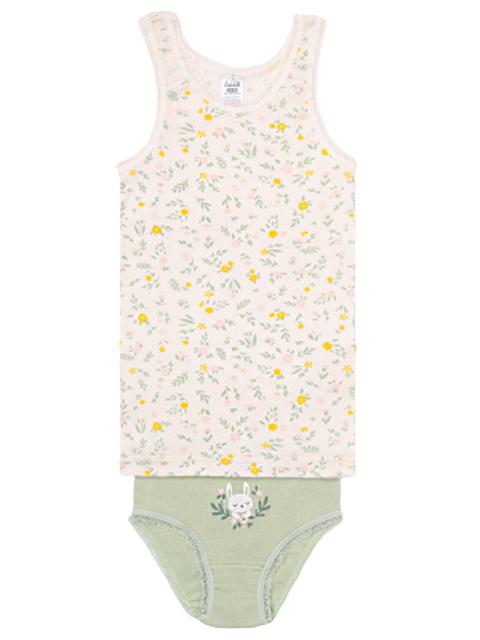 """Комплект для девочки майка + трусы """"Цветы на белой лилии+чайное дерево"""", размер/рост : 64-68/122-128см"""