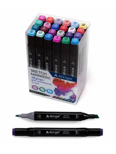 Набор маркеров для скетчинга Alingar, 1-6 мм, 24 цвета, цветочные тона, двусторонние, в ПВХ упаковке