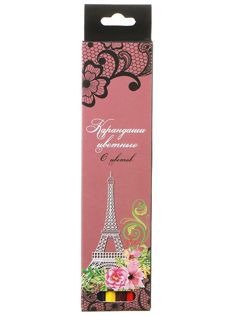 """Карандаши цветные """"Париж"""" 6 цветов, деревянные, шестигранные, картонная упаковка, европодвес"""