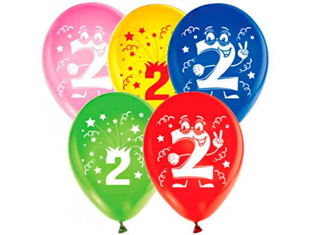 """Шар 12"""" с рисунком """"2 года"""" 5 штук в упаковке"""