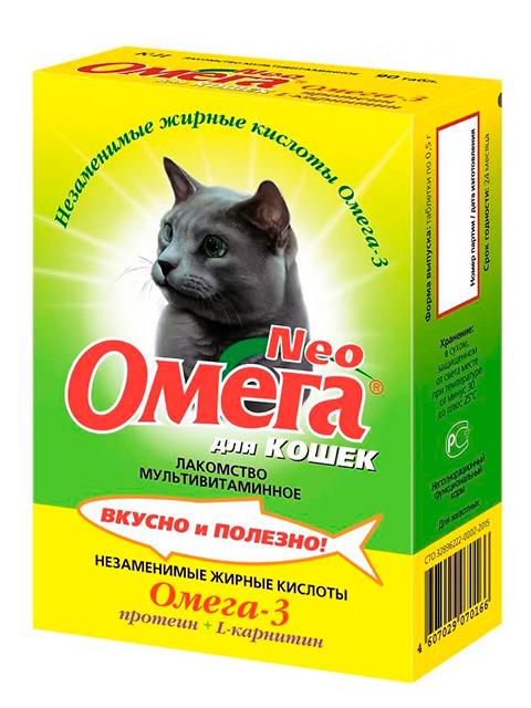 ОМЕГА NEO+ К-К Мультивитаминное лакомство для кошек с L-карнитином ( для кастрированных кошек ) 90 таб.