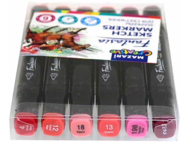 """Набор маркеров для скетчинга Mazari """"FANTASIA"""", 1-7 мм, двусторонние, 6 цветов (розовые цвета)"""