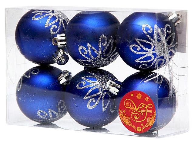 Набор елочных шаров MagicTime, 6 см, 6 шт, синий с серебряным цветком, пластик