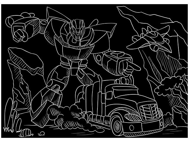 """Гравюра А4 Рыжий кот """"Машины-роботы"""" с эффектом золото, конверт"""