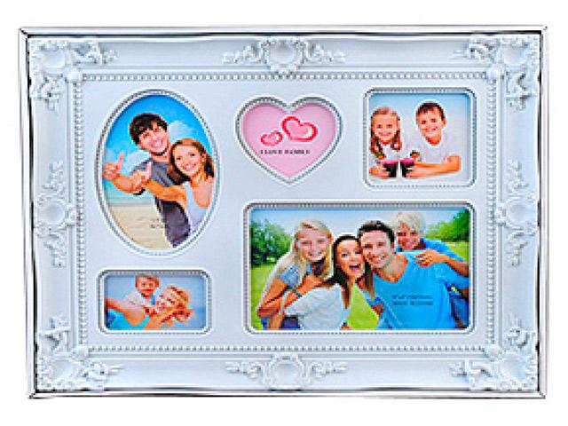 """Фоторамка пластиковая """"Коллаж. Image Art (PL04-5)"""" 5 фото, белая"""