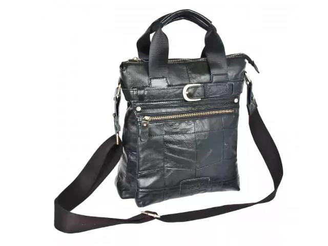 """Сумка-планшет """"POLAR. Black"""" верт. с накл. карманом, натуральная кожа, черная"""