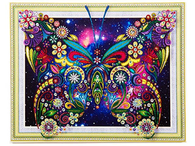"""Алмазная мозаика 5D """"Сверкающая бабочка"""" 40х50 см, без подрамника в рулоне"""