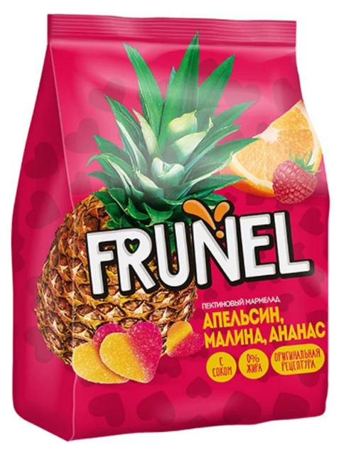 "Жевательный мармелад ""FRUNEL"" апельсин, малина, ананас, 250 г"