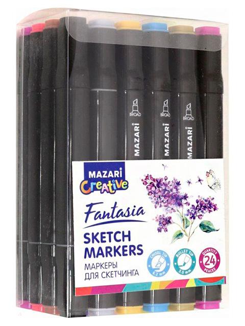 """Набор маркеров для скетчинга Mazari """"FANTASIA"""", 1-7 мм, двусторонние, 24 цвета (основные цвета)"""
