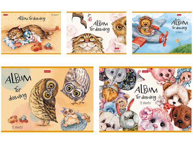 """Альбом для рисования А4 12 листов Хатбер """"Милые зверушки"""" на скрепке"""