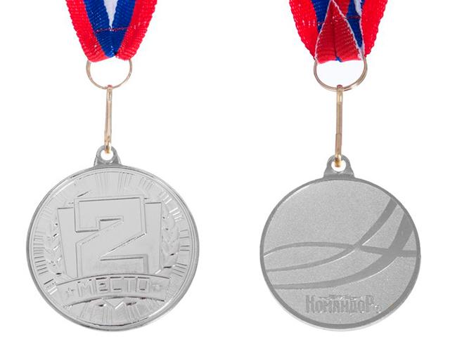 """Медаль призовая """"2 место"""" 186 4см, металлическая, на ленте, серебро"""