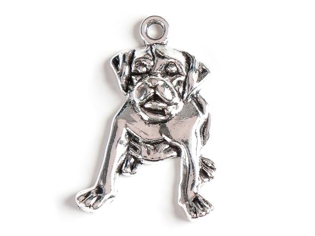 """Подвеска металлическая """"Собака"""" 27х19 мм, серебро (цена за 1 шт)"""