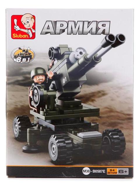 """Конструктор SLUBAN """"Армия. Пушка  8в1"""" 94 детали"""